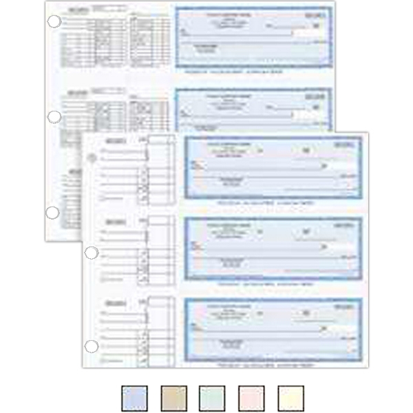 "3-Ring Binder Check - 3 2/3"" x 7 1/8"" two-part carbonless payroll checks in 3-ring format."