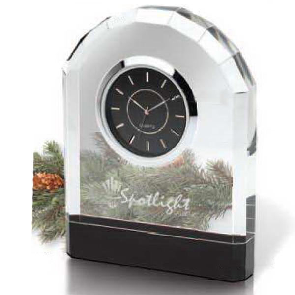 Crystal Desk Clock With Beveled Front And Second Hand Photo