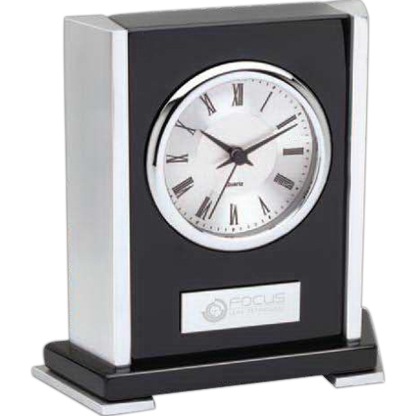 Black Polished Wood Desk Clock With Second Hand Photo
