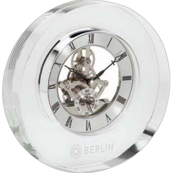 Elegant Clear Crystal Clock With Floating Silver Dial Photo