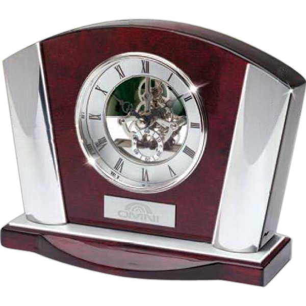 Wood Finish Mahogany Mantle Clock - Wood mahogany mantle clock with second hand.