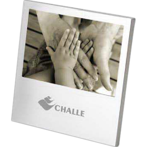 Brushed Aluminum Desktop Photo Frame With A Velvet Easel Back Photo