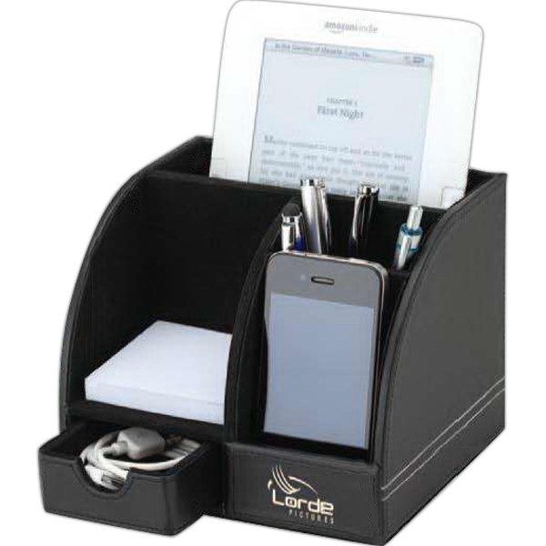 Black Desktop Organizer With Felt Lining And Storage Drawer Photo