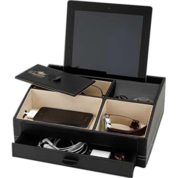 Black Jewelry/valet Or Disk Box With A Felt Base And White Contrast Stitching Photo