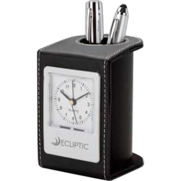 Black Leatherette Pen Holder And Quartz Alarm Clock Photo
