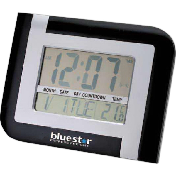 Matter Silver And Black Wall Or Desktop Clock With Temperature Display Photo