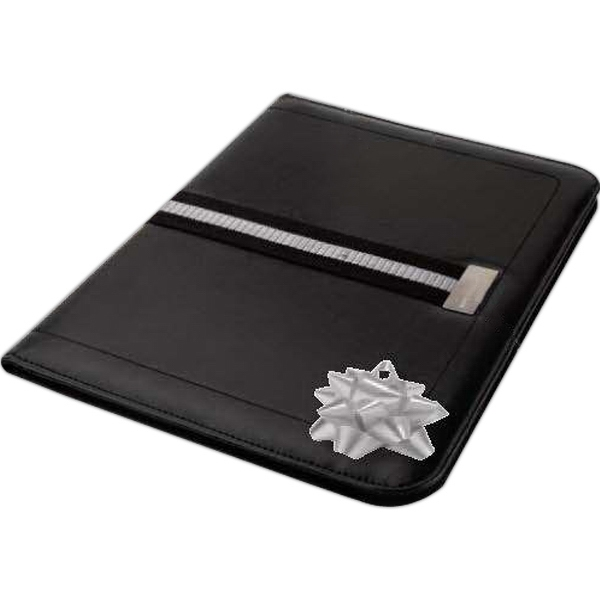 Striped Webbing Accent Folio With Soft Padded Leatherette Cover Photo