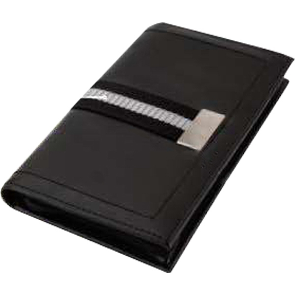 Travel Wallet With Striped Webbing Accent And Soft Padded Leatherette Cover Photo