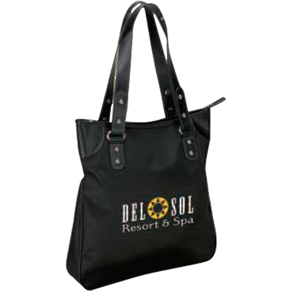 Black Microfiber Tote Bag With Zippered Closure And Contrast Stitching Photo