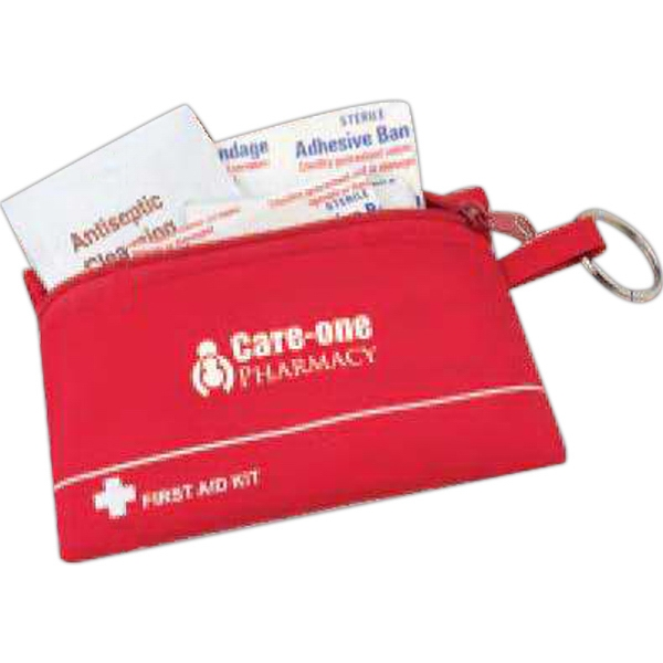 32 Piece First Aid Kit In A 210d Nylon Zippered Bag That Has A Split Ring Photo