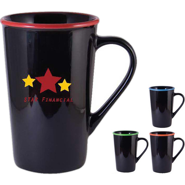 Horizon (r) - Black-red - 16 Oz. Black Ceramic Mug With Bright Colored Rim Photo