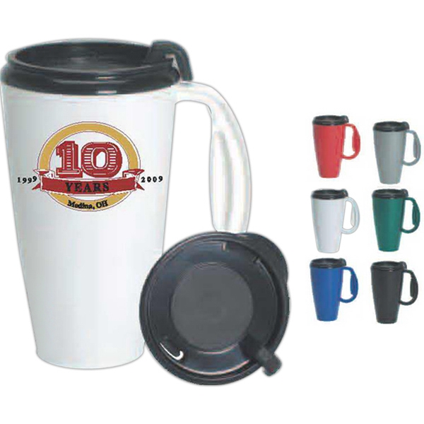 Journey - Black - Plastic 16 Oz, Travel Mug With Thumb Slide/lock Lid. Made In The U.s.a Photo