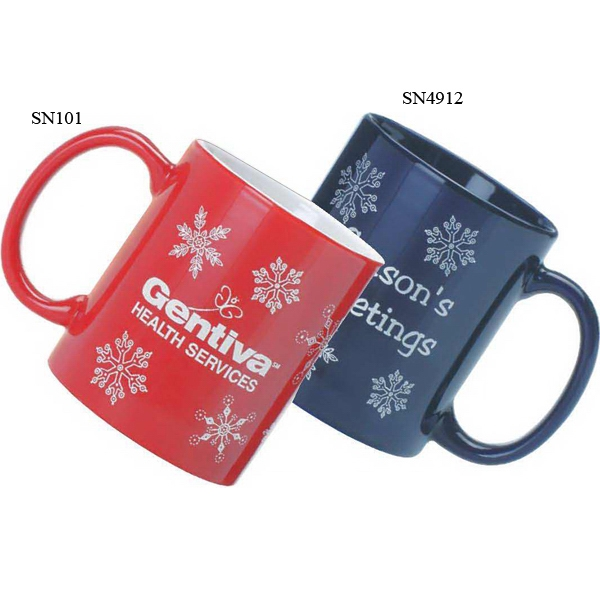 Red Ceramic Stock Snowflake Design Mug, 11 Oz Photo