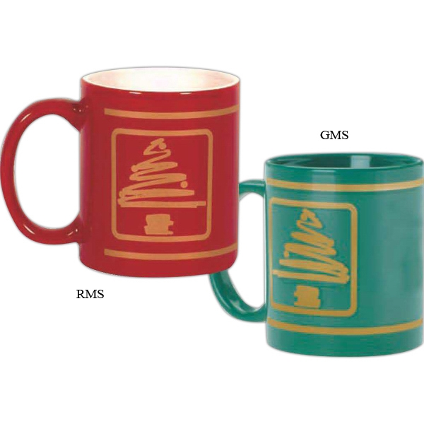 Red Ceramic Stock Christmas Tree Design Mug Is Decorated In Simulated Gold, 11 Oz Photo