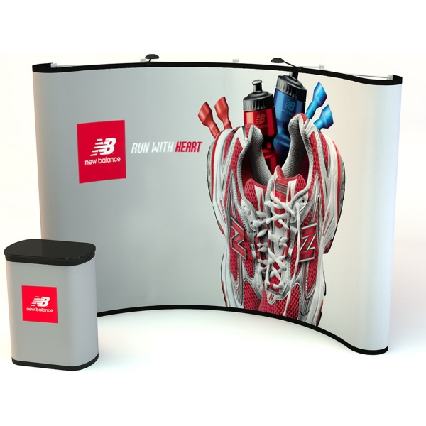 10' Curve Graphic Po-Up Display kit - Pop up display with frame and graphic panels, 10'.