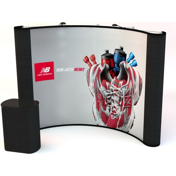 10' Curve fabric ends / center graphics kit - Pop-up curved display with a 10 ft. frame, 4 graphic, 2 fabric panels.