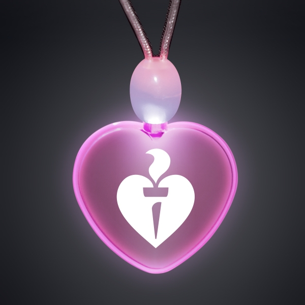 Light-up promotional acrylic heart necklaces with LED