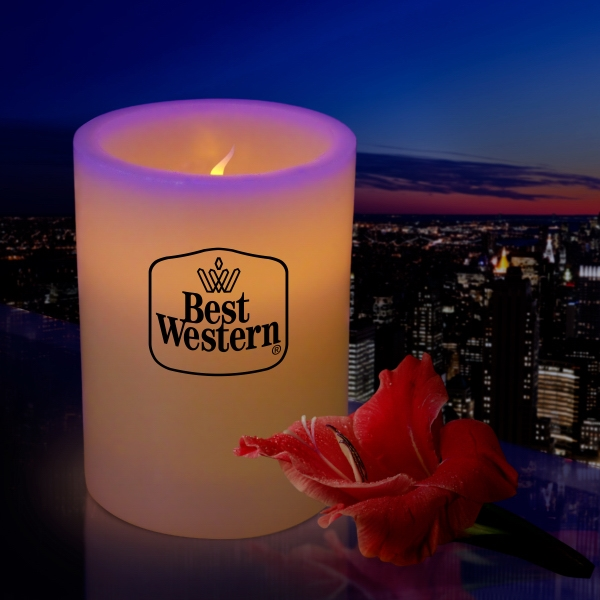 "4"" Wax Flameless Flickering LED Pillar Candle"