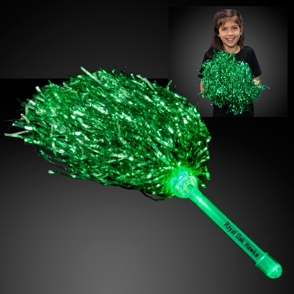green Team Spirit Light Up Pom Poms