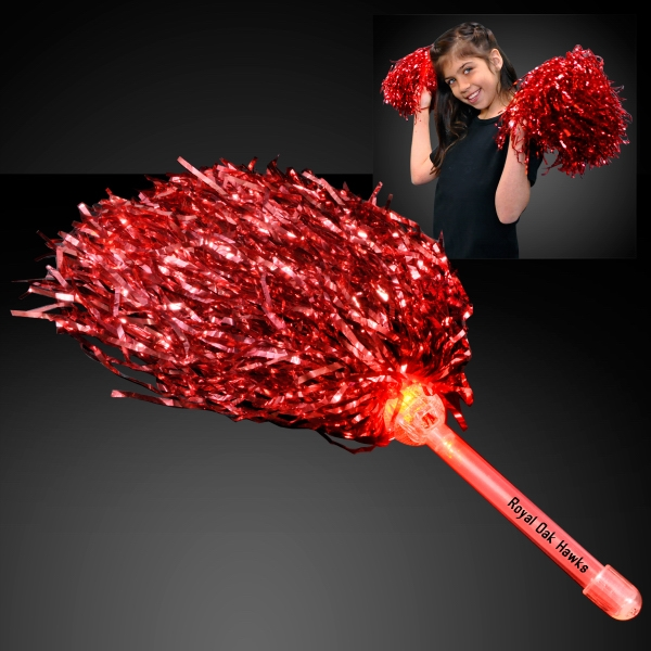 Red Team Spirit Light Up Pom Poms