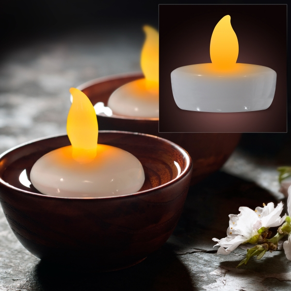 Amber water activated floating candle flickering lights