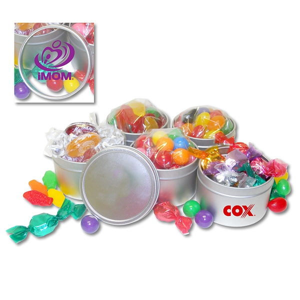 2 oz. Candy Tin - 2-ounce round gift tin filled with assorted candy; all candy is individually wrapped or placed in FDA approved bags.