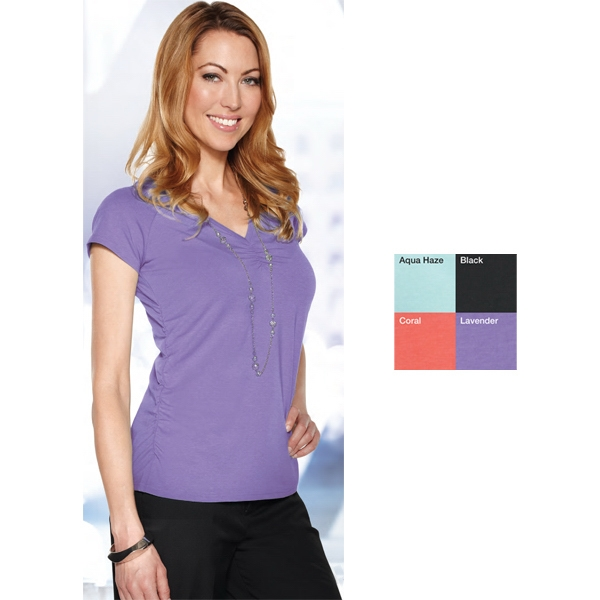 Marisol Lilac Bloom (tm) -  X S- X L - Women's V-neck Knit Shirt Featuring Ultracool (r) Moisture Wicking Technology Photo
