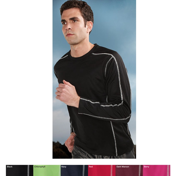 Fulcrum Performance (tm) - S- X L - Men's Crewneck Long Sleeve Shirt With Moisture Wicking Technology Photo