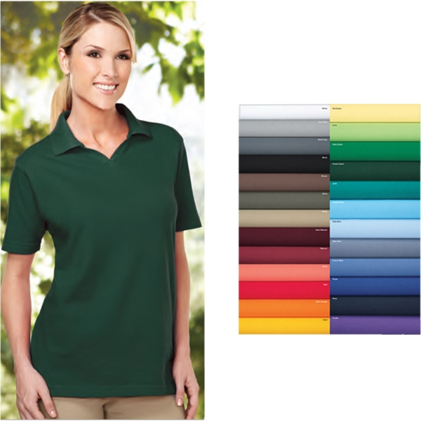 Newport -  X S -  X L - Women's Short Sleeve Easy Care Pique Golf Shirt With Johnny Collar Photo