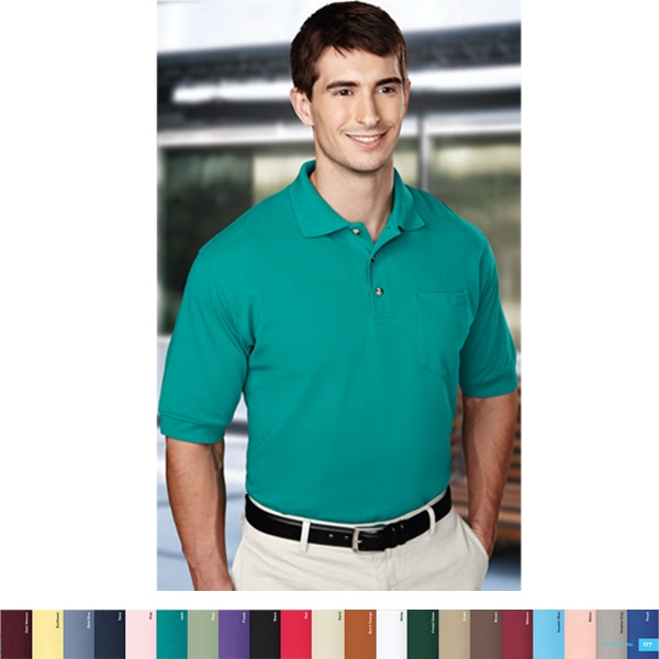 Image - S -  X L - Men's Pique Knit Golf Shirt With Pocket And A Clean-finished Placket Photo