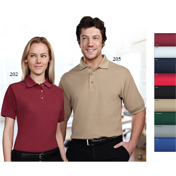 Artisan -  X S -  X L - Women's Pique Golf Shirt With Three Horn Buttons And A Square Hemmed Bottom Photo