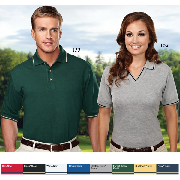 Streamline - 2 X L - Men's Pique Golf Shirt With Contrasting Trim On Collar And Cuffs Photo