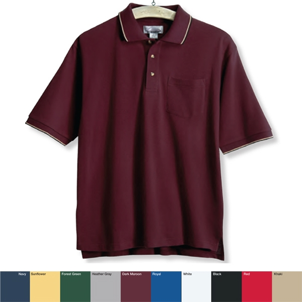 Conquest - S -  X L - Men's 7.8 Oz Golf Shirt With Pocket And Two-tone Trim Collar Photo