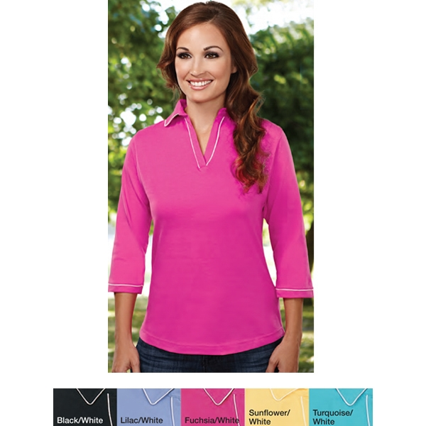 Allure - 3 X L - Women's 6.7 Oz Combed Cotton Jersey 3/4-sleeve Johnny Collar Knit Shirt Photo