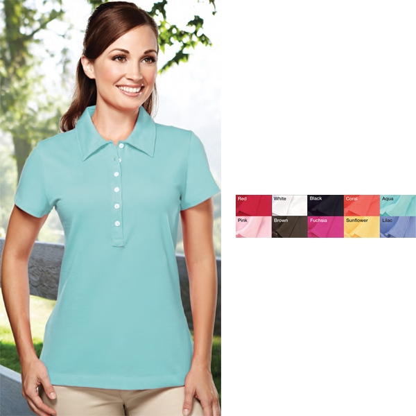 Attraction -  X S -  X L - Women's Golf Shirt Accented With Small Capped Sleeves And Pearl Buttons Photo