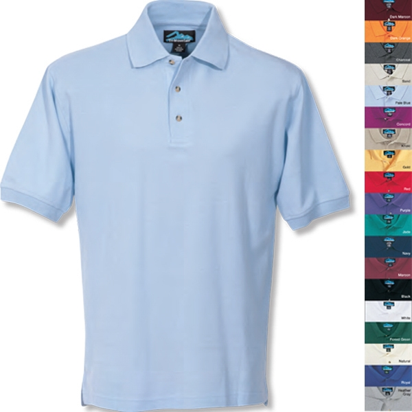 Signature -  X S -  X L - Men's Golf Shirt With Half-moon Yoke, 3 Horn Buttons And Extended Tail Photo