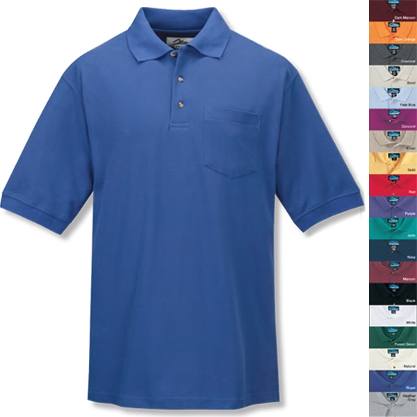 Signature Ltd - S -  X L - Men's Golf Shirt With Pocket And Three Horn Buttons Photo