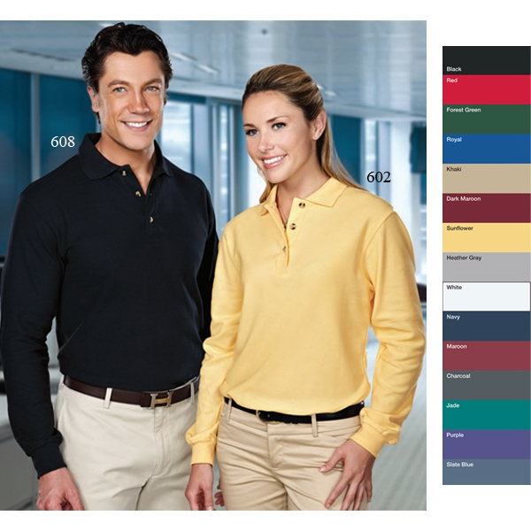 Victory - 2 X L - Women's Long Sleeve Golf Shirt With 3 Horn Buttons And Double-stitched Seams Photo