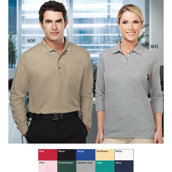 Aurora - 2 X L - Women's 3/4-sleeve Pique Knit Golf Shirt Photo