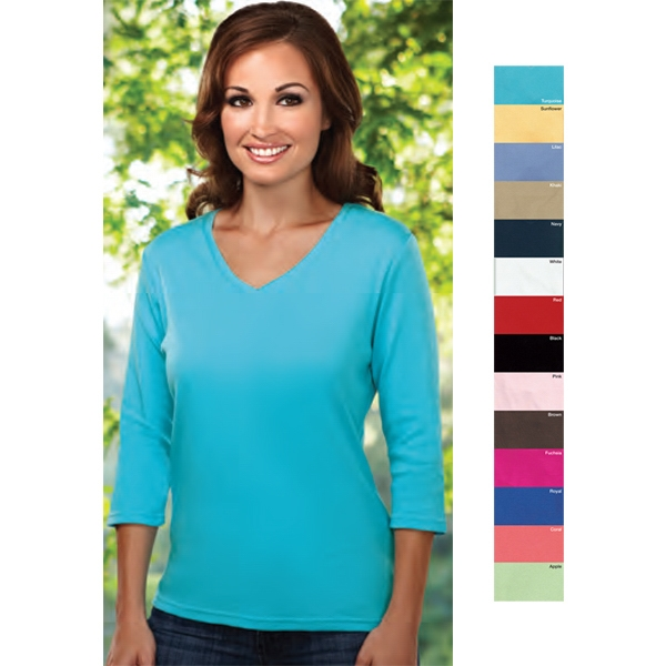 Mystique -  X S -  X L - Women's 8 Oz 100% Combed Cotton Interlock 3/4 Sleeve Knit Shirt Photo