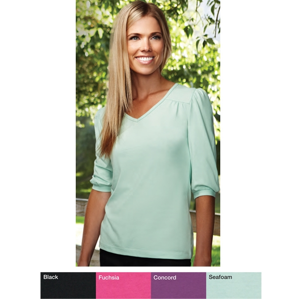 Torrance -  X S- X L - Women's Easy-care, Feminine Styling V-neck Knit Shirt Photo