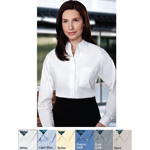 Echo -  X S -  X L - Women's Long Sleeve Oxford Dress Shirt With Left Chest Pocket Photo