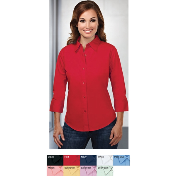 Capri -  X S -  X L - Women's Woven Shirt With 3/4 Length Sleeves And Back Princess Darts Photo