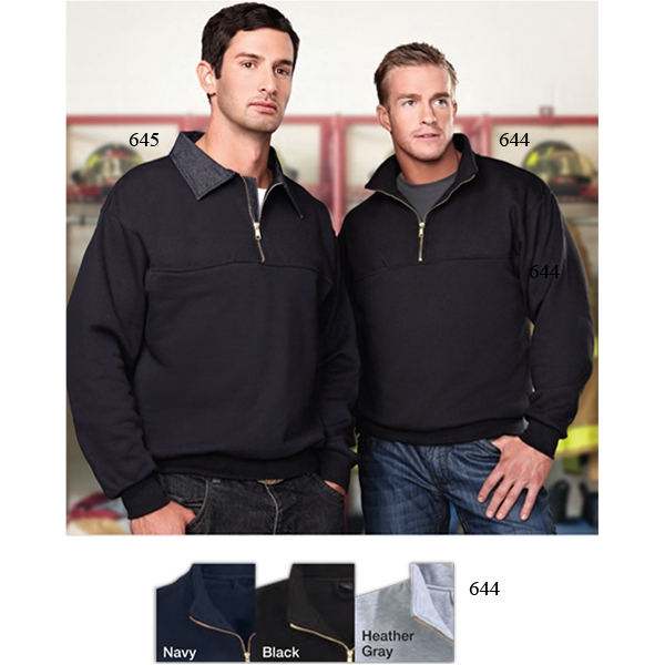 React - S -  X L - Pullover Sweatshirt With Brass Zipper And Deep Right Chest Pocket For Radio Photo