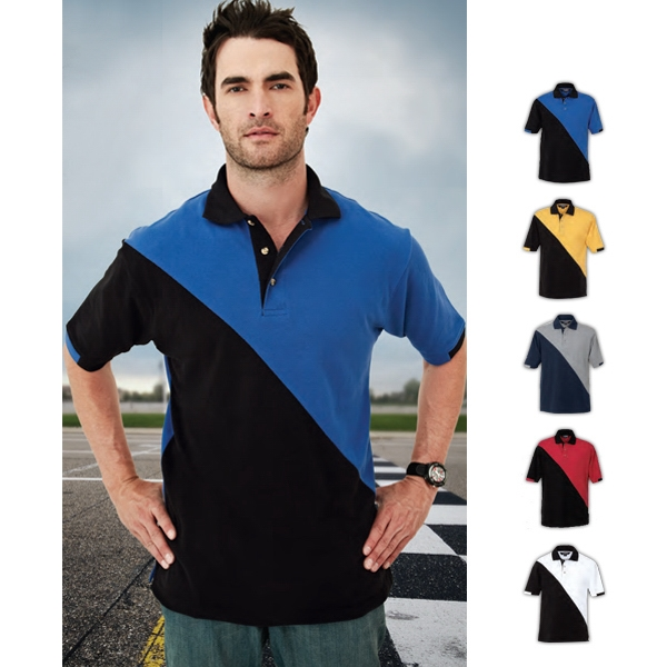 Specter Tmr (r) - 2 X L - Men's Golf Shirt Accented With Contrast Diagonal Panel, Collar And Cuffs Photo