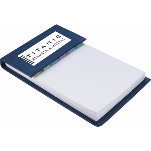 Hard Cover Notepad With White Pages And Assorted Color Sticky Flags Photo
