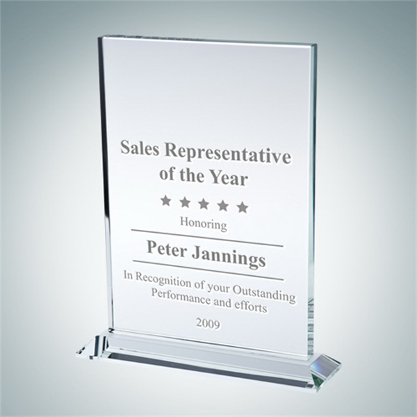 Clear Glass Vertical Rectangle with Base Award