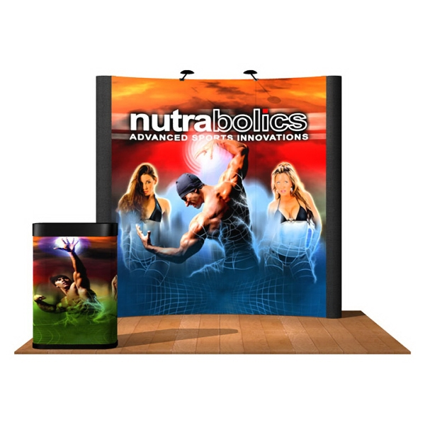 10' Curve Graphic / Fabric Kit - Pop-up display with a curved 10 ft. frame and 6 panels.