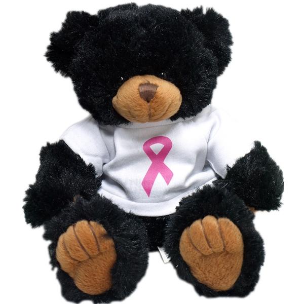 "9"" Black Peter Bear w/Breast Cancer Awareness T-shirt"