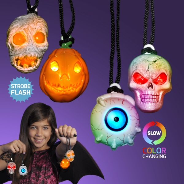 LED Halloween Charm Necklaces Assorted Spooky Shapes